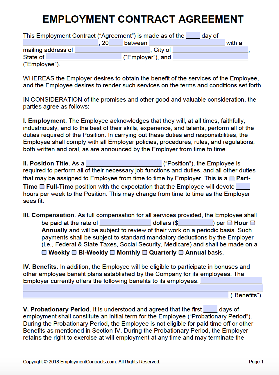 Free Employment Agreements Contracts Pdf Word