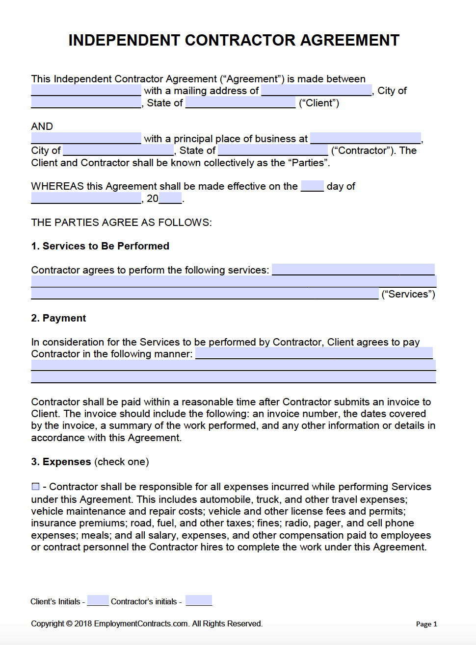 Independent Contractor Agreement Pdf Word