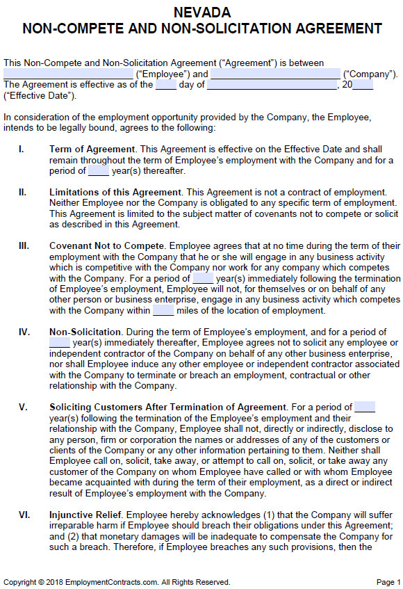 Nevada Non Compete Non Solicitation Agreement Pdf Word