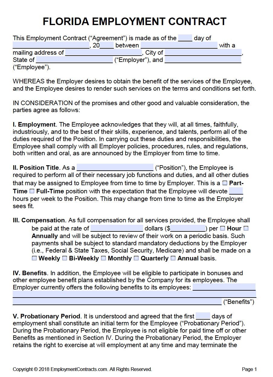 free florida employment contract template