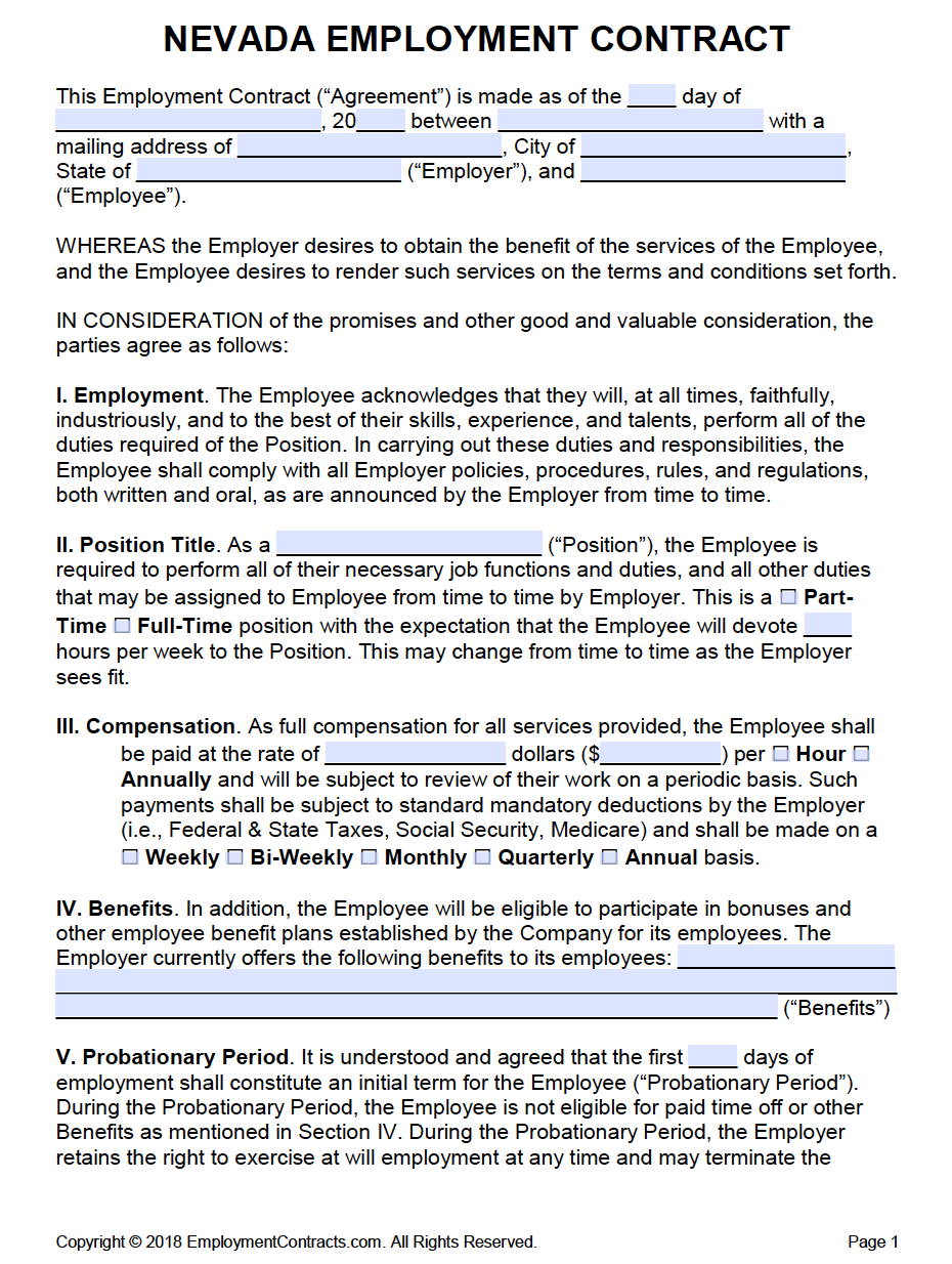 Nevada Employment Contract Template | PDF | Word
