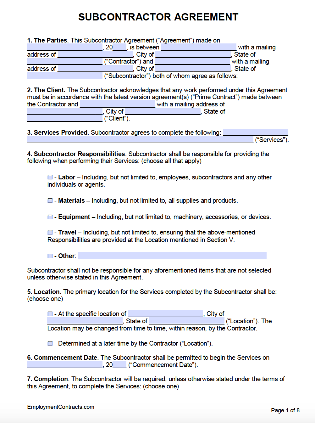 Free Subcontractor Agreement Template Pdf Word